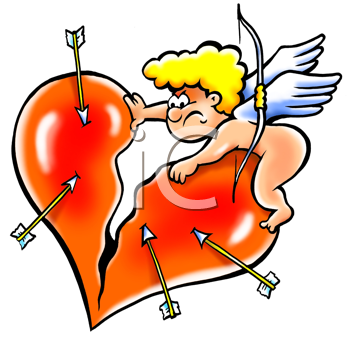 Royalty Free Clipart Image of Cupid Ripping a Heart
