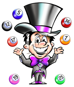 Royalty Free Clipart Image of a Man Juggling Bingo Balls in the Air