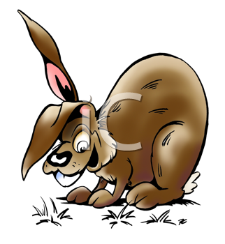 Royalty Free Clipart Image of a Brown Rabbit