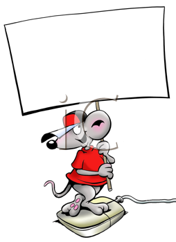 Royalty Free Clipart Image of a Mouse on a Mouse Holding a Sign