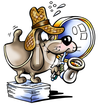 Royalty Free Clipart Image of a Detective Dog
