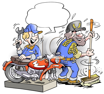 Royalty Free Clipart Image of Two Mechanics