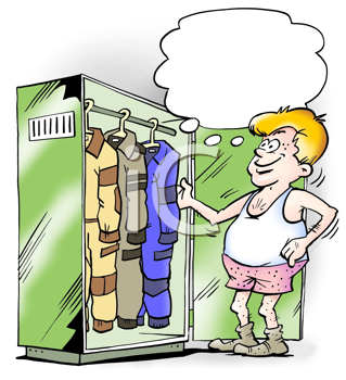 Royalty Free Clipart Image of a Man With a Variety of Jumpsuits in a Locker