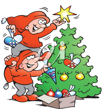 Vector Cartoon illustration of two happy Elf decorate the Christmas Tree
