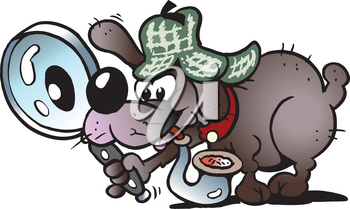 Cartoon Vector illustration of a a clever and cunning detective Dog