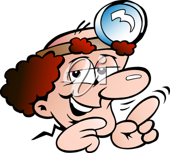 Vector Cartoon illustration of a Clever Professor or Doctor