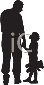 Royalty Free Clipart Image of a Father and Child