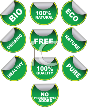 Royalty Free Clipart Image of a Set of Green Labels