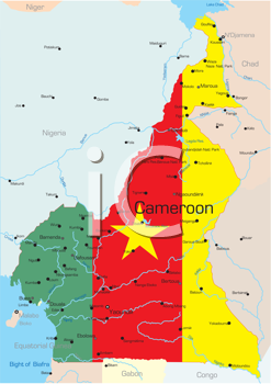 Royalty Free Clipart Image of a Map of Cameroon With the Flag Over Top