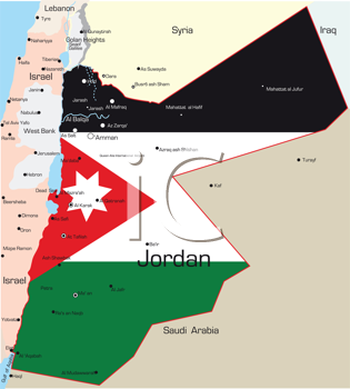 Royalty Free Clipart Image of a Map of Jordan Painted Like the Flag