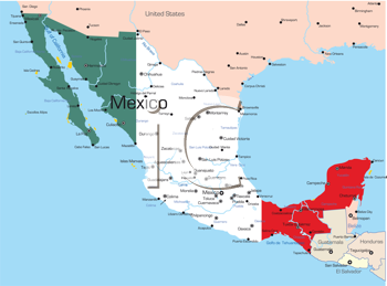 Royalty Free Clipart Image of a Map of Mexico With a Flag