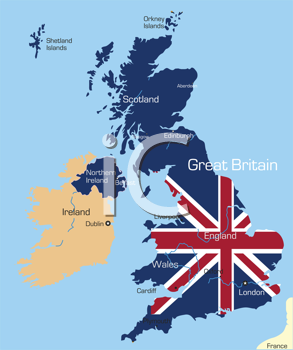 Royalty Free Clipart Image of a Map of Great Britain With the Flag