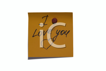 Sticky post it note with I Love You wording