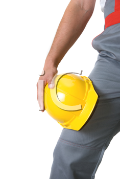 Royalty Free Photo of a Man Holding a Yellow Hardhat