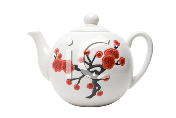Teapot in asian style with flowers. Isolated on white.