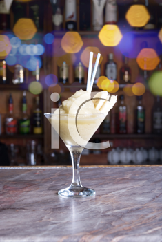 Royalty Free Photo of a Banana Cocktail on the Bar