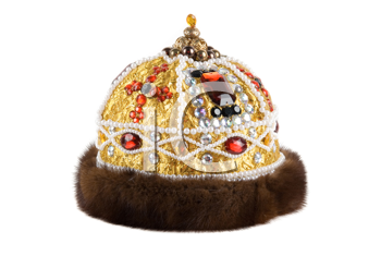 Regal kings fur crown isolated on a white background