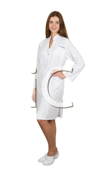 Young female doctor or nurse isolated on white
