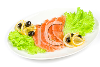 Salmon with lettuce, lemon and olive on white background
