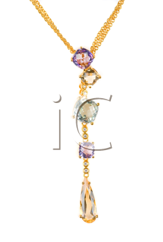 Royalty Free Photo of a Gold Pendant With Gems