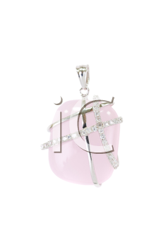 Silver earring with pink quartz and zirconium
