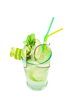 classic mojito alcohol fresh cocktail isolated on a white