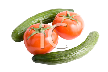 Tomatoes and cucumbers on a white background
