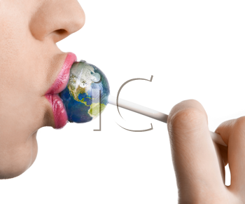 Royalty Free Photo of a Woman Kissing Lollipop as Earth