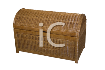 Rattan kist isolated on white background