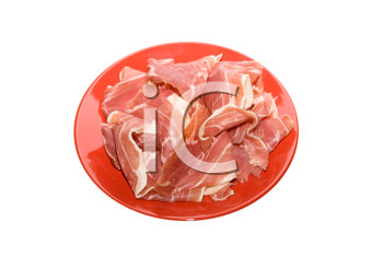 Royalty Free Photo of Jamon on a Red Dish