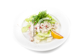 Tasty salad of seafood and vegetable dish close up on a white background