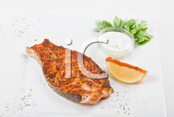 Royalty Free Photo of Grilled Salmon Steak