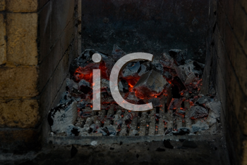 Royalty Free Photo of Live Coals in a Stove