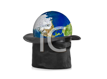 Black hat and earth planet isolated on a white background