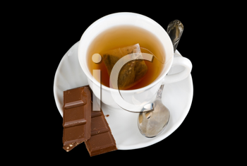 Royalty Free Photo of a Cup of Tea and Chocolate