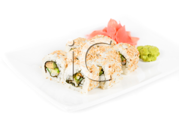Sushi rolls at plate isolated on a white