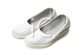 white slippers isolated on a white background