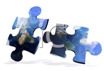 global map puzzles comunication on white background