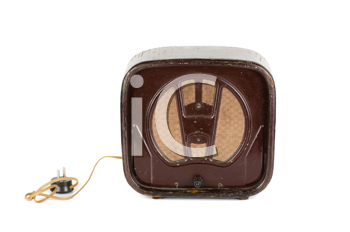 Old Radio 50s - 60s isolated on a white