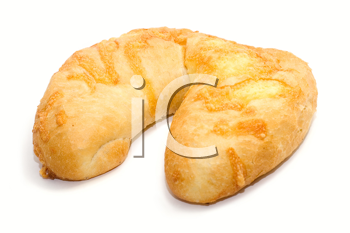 Bread with cheese on white background