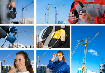 workers with equipment on building background sets