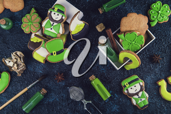 Cookies for Patrick's day on dark background