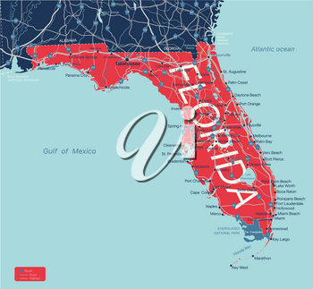Florida state detailed editable map with with cities and towns, geographic sites, roads, railways, interstates and U.S. highways. Vector EPS-10 file, trending color scheme