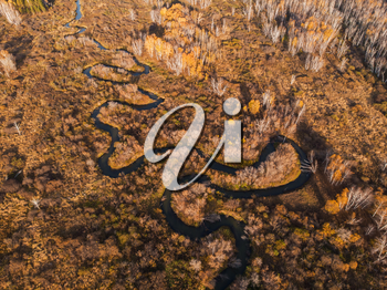 Aerial drone view of autumn landscape with river.