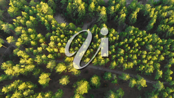 Drone flying over a green forest with waterfall in the Altai mountains. Aerial Drone footage 4K. Beautiful autumn summer landscape.