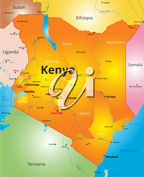 Vector color map of Kenya country
