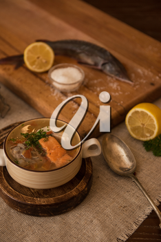 Tasty fish soup - ukha, soup from different fishes and vegetables