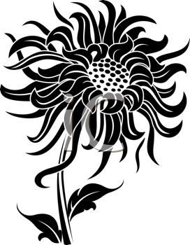 Royalty Free Clipart Image of a Black Flower