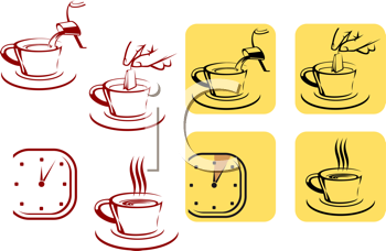 Royalty Free Clipart Image of Tea Preparation