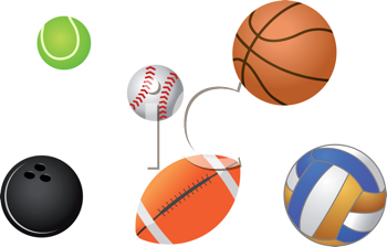 Royalty Free Clipart Image of Sports Balls
